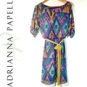 Adrianna Papell Aztec Pattern Cold Shoulder Dress